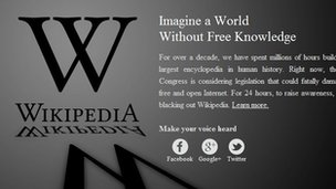 Wikipedia joins SOPA blackout protest at US anti piracy censorship